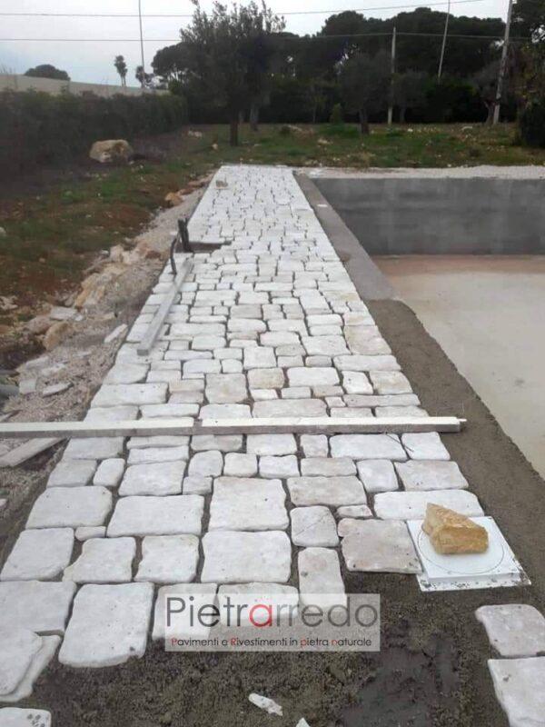 pavimento in pietra naturale antiqua di trani chianca anticata offerta colore chiaro pietrarredo milano