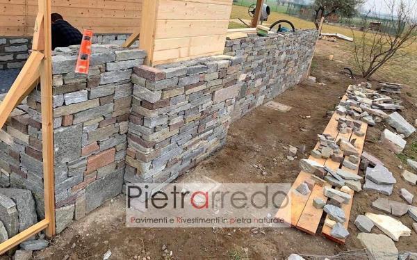 prezzo muro a secco in pietra naturale materiale sasso grezzo senza fuga pietrarredo milano costo