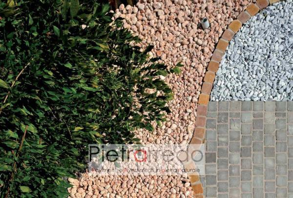 sasso rotondo rosso verona rosa arredo giardino pebbles red pietrarredo price costo milano offerta