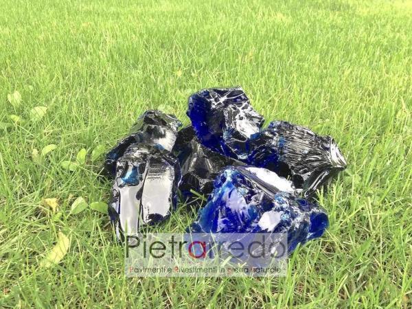 vetro blu cobalto oltremare decorativo per aiuole stone garden prezzo kg pietrarredo