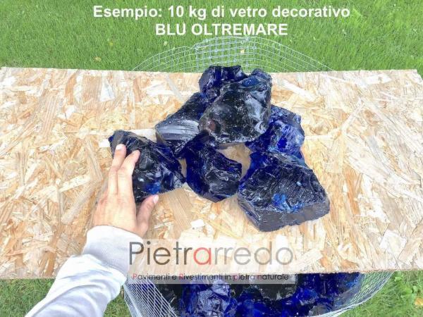 vetro decorativo per gabbie sassi blu oltremare prezzo zandobbio pietrarredo milano stone garden
