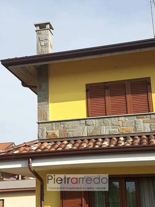 balcone e comignolo rivestito con pietra luserna lati segati bugnato scozzese pietrarredo costo