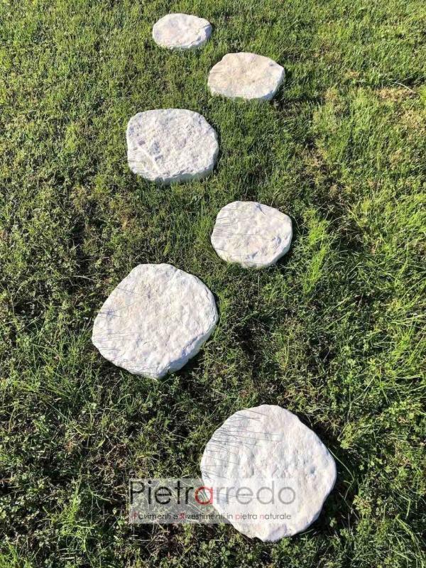 offerta passi giapponesi in pietra naturale bianca pietrarredo milano anticata per passaggi prato lastre prezzo
