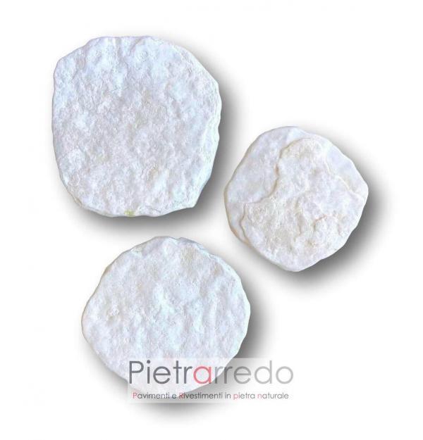 piastre in pietra bianca per segna passi giapponesi rotondi prezzo arredo giardino pietrarredo milano