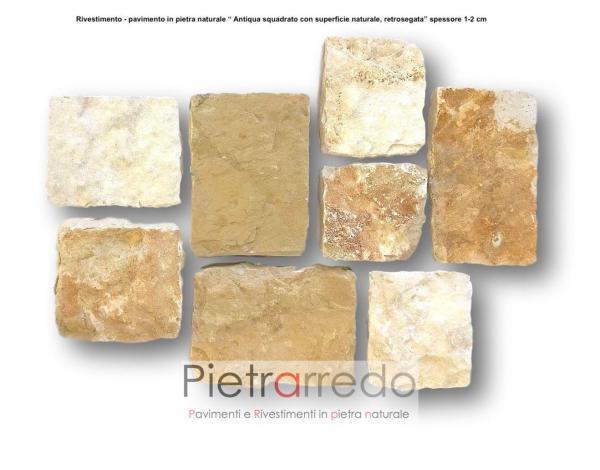 placche mattonelle in pietra naturale scorza trani squadrata antiqua pietrarredo milano prezzo facciata parete