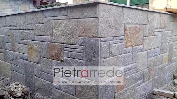 rivestimento muro facciata cinta in pietra luserna scozzese bugnata prezzo pietrarredo milano parabiago