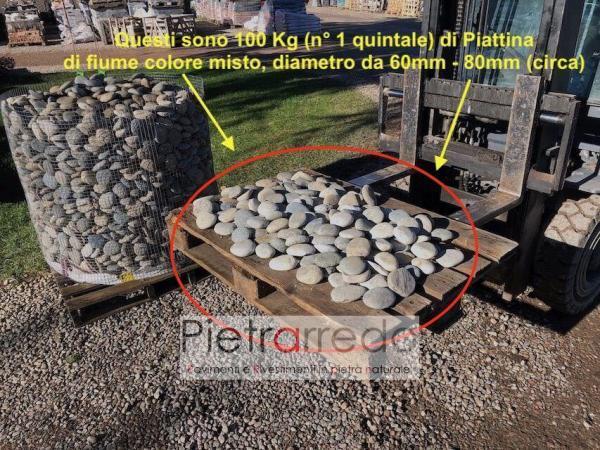 offerta ciottolo piatto piattina di fiume rotondo stone pebbles prezzo pietrarredo milano