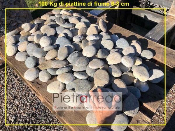 offerta piattina in sasso ciottolo di fiume ticino selezionato prezzo pavimento giardino riccioso pietrarredo