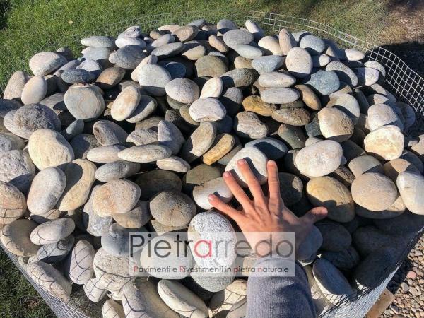 offerta sasso ciottolo piatto per arredo giardino roccioso fiume Ticino prezzo pietrarredo