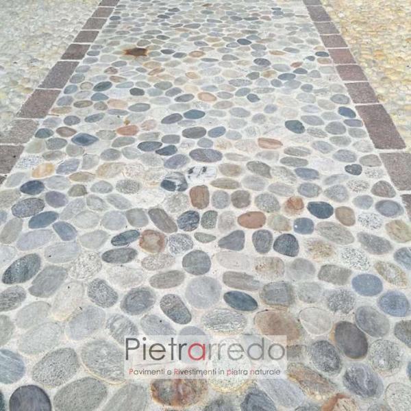 pavimento in sassolini ciottoli di fiume ticino piattine piatti pietrarredo milano prezzo mq