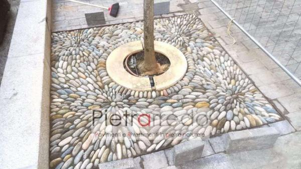 pavimento decorato con ciottolo di fiume piattina di testa aiuola prezzo pietrarredo offerta