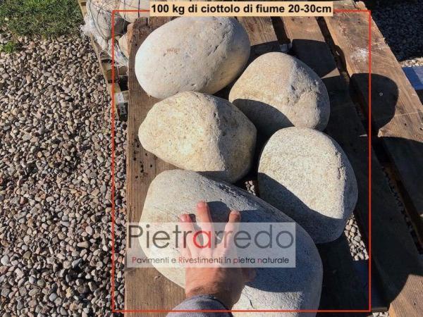 prezzo ciottolo di fiume grande 30 cm diametro per giardini rocciosi fontane laghetti prezzi pietrarredo