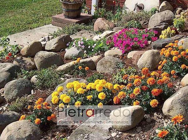 prezzo giardino rioccioso in sasso pebbles grande prezzo pietraredo milano aiuole prato