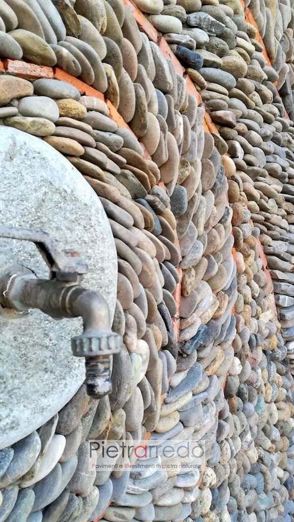 rivestiento in sasso di fiume piattina piatta sasso ticino decorazione artistica pietrarredo milano