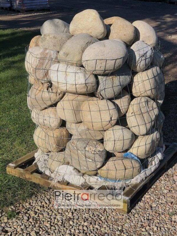 vendita ciottolo di fiume ticino colore misto prezzo 20-30 cm grande darsena argine prezzi pietrarredo milano