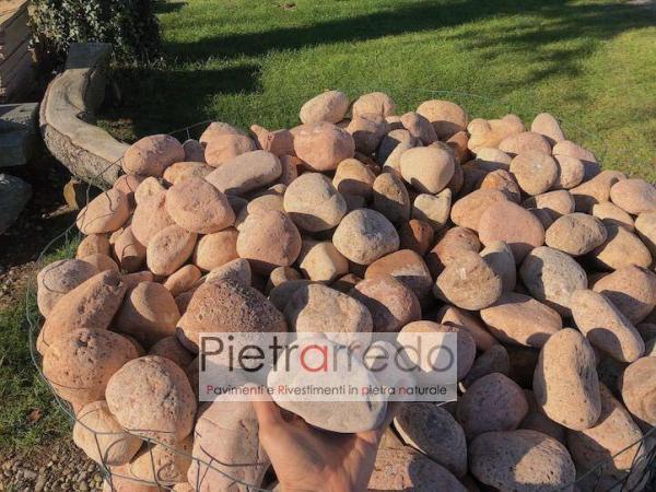 vendo bancale cassa di sassi ciottolo di fiume rosa per decorazione giardini stone garden price pietrarredo rosa