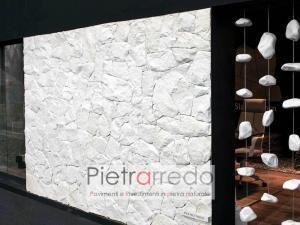 muro rivestimento bianco puro brillante thasos a spacco secco moderno prezzo pietrarredo stone white