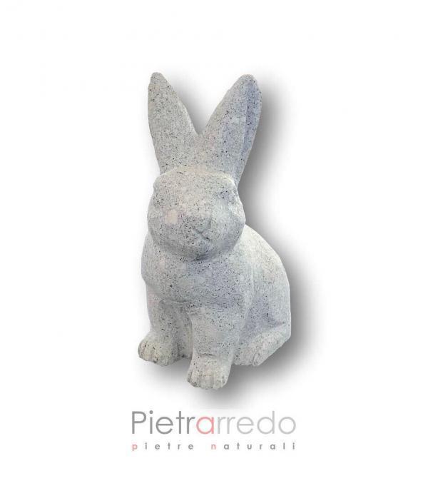 Rabit coniglio lepre in sasso granite stone animal garden decor pietrarredo milano
