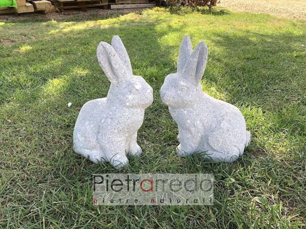 coniglio in sasso per decorazioni giardini garden stone animal rabbit prezzo pietrarredo