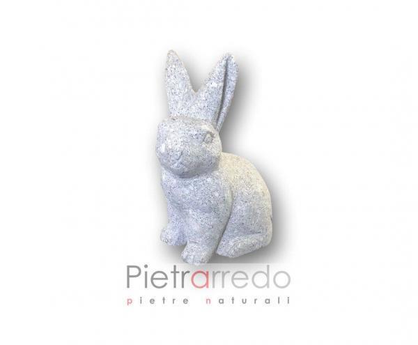 lepre coniglio in sasso pietra per arredo giardino stone animal prezzi pietrarredo