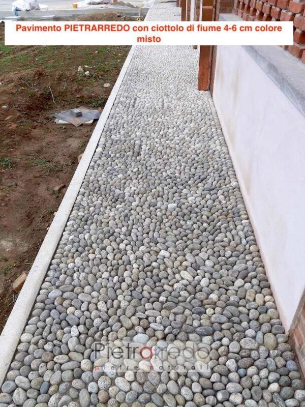 pavimento acciotolato di fiume ciottoli misti prezzi selciato offerta pietrarredo 4-6cm