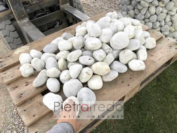 ciottolo di fiume bianco quarzo prezzo ticino selezionato offerta pietrarredo aiuola deco giardini esterni