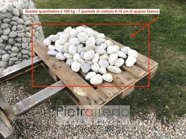 ciottolo di fiume quarzo bianco ticino alluvionale stone garden pebbles white aiuole giardini prezzi pietrarredo milano