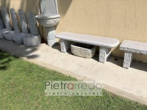 offerta panca seduta in giardino granito fatta a mano pietrarredo milano