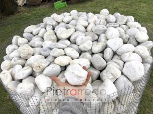 offerta sasso sassolini bianchi di fiume quarzo per arredo giardino pietrarredo milano