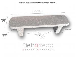 panchina in granito modello bolzano pietrarredo milano stone garden sasso arredo urbano giardini sedute prezzo pietrarredo