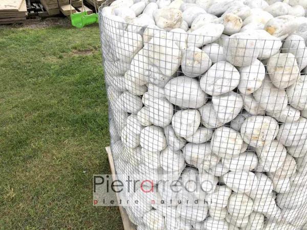 sacchi ciottolo bianco quarzo arreo giardino stona garden white pebbles