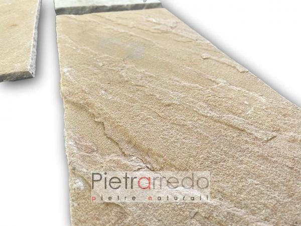Lastra in pietra arenaria gialla mit indiana 30x60 prezzo retrosegata paviento esterno antiscivolo