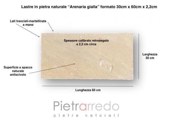 lastra in pietra arenaria gialla 30cm x 60cm retrosegata offerta pietrarredo pavimento esterno