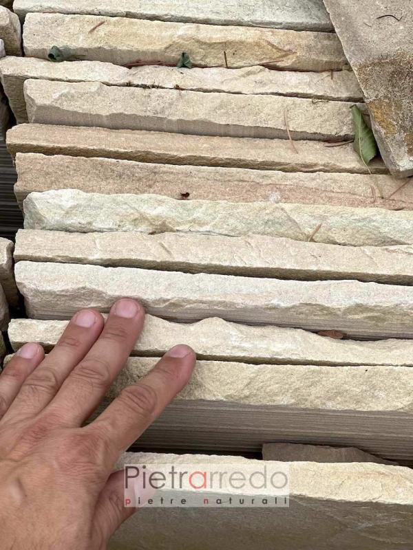offerta mattonella lastra piastrella da esterno in pietra arenaria indiana giallo mint pietrarredo prezzo