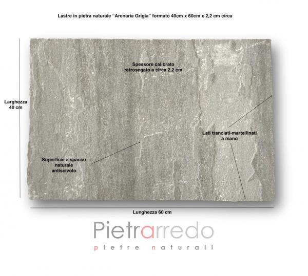 pavimento mattonelle in pietra arenaria grigia kandla grey indiana spessorata prezzo costo pietrarredo milano 40x60cm