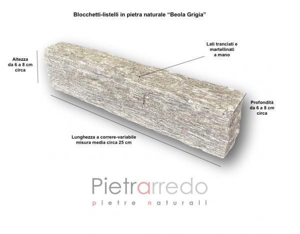 blocchi mattoni mattonelle in pietra beola grigia per aiuole muri e facciate fioriere pietrarredo milano prezzo