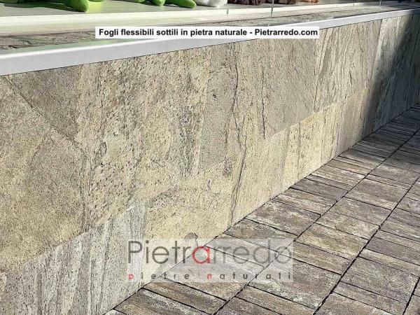 muretto in pietra naturale fogli flessibili pietrarredo stone sheet parete facciata