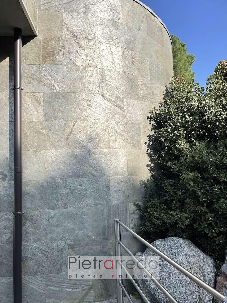 parete facciata rivestita con fogli flessibili in pietra naturale sottile. gold green offerta pietrarredo facciata rotonda