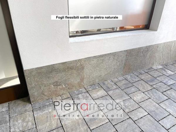 zoccolino muro con pannelli in pietra sottile pietrarredo milano